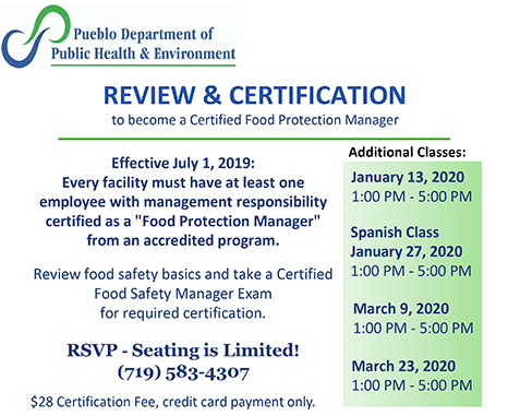 Review and certification to become a certified food protection manager