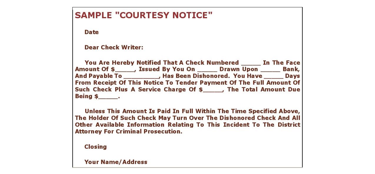 Sample check fraud notice