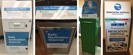 Safe Medical Disposal Kiosks, from left to right: Walgreens, St Mary Corwin Emergency Dept., Kaiser Permanente Pharmacy