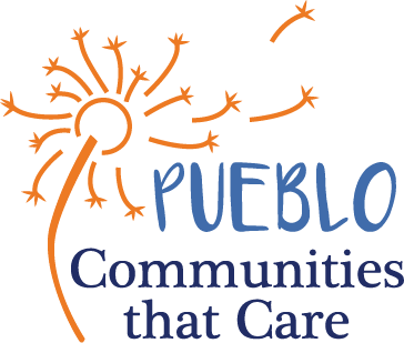 "Blue text that reads ""Pueblo: Communities that Care"" with orange dandelion seed pod"